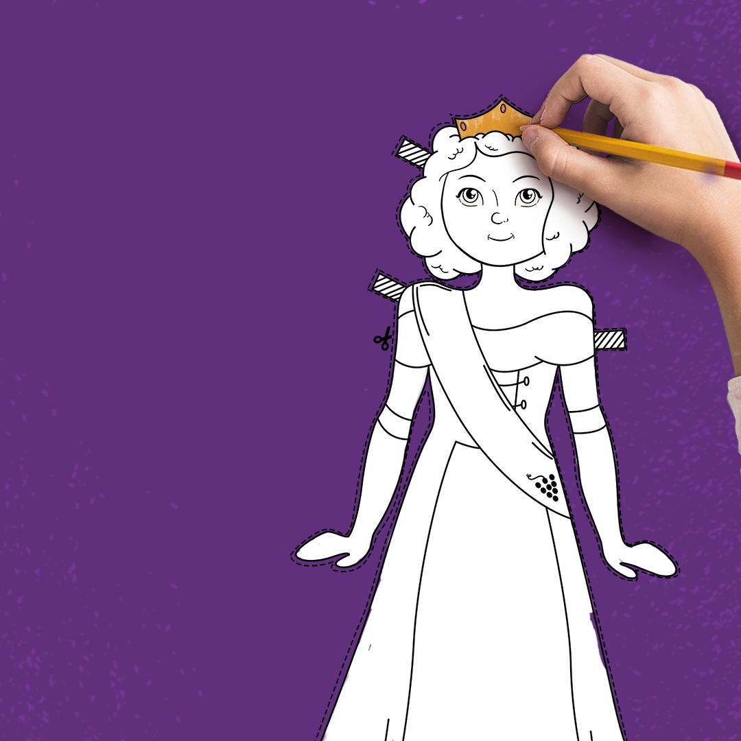 Rainha de Colorir: brincadeira incentiva criatividade ao personalizar boneca da Rainha da Festa da Uva