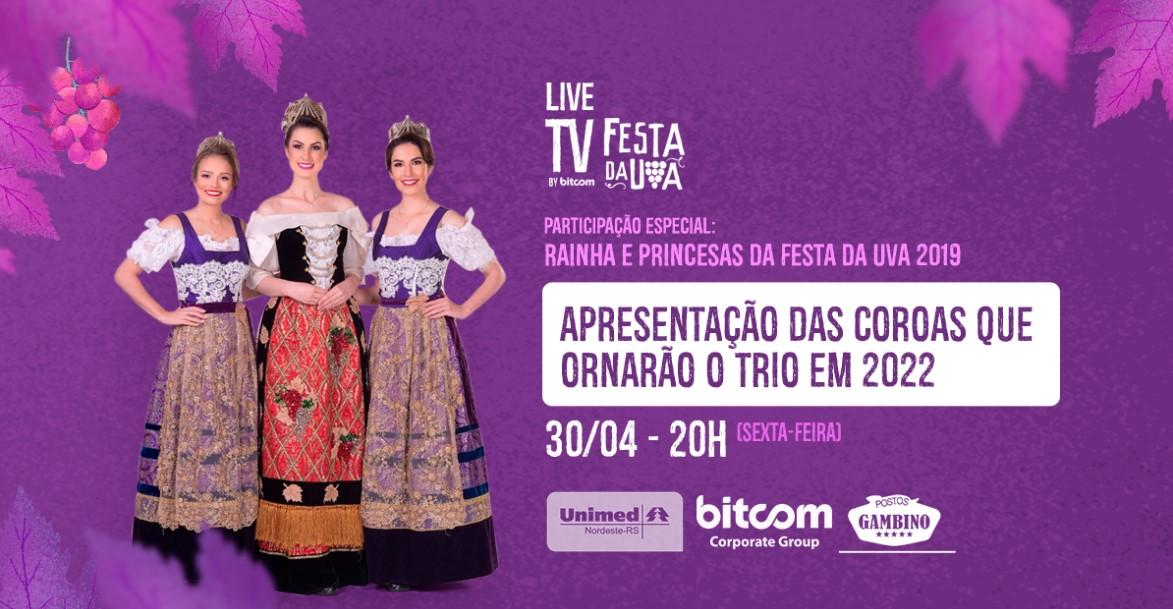 Rainha e princesas da Festa da Uva participam  de live nesta sexta-feira